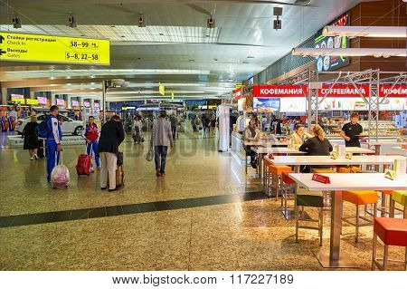 MOSCOW, RUSSIA - AUGUST 19, 2015: interior of Sheremetyvo Airport. Sheremetyevo International Airport is an international airport located in Khimki, Moscow Oblast, Russia.