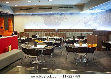 PRAGUE, CZECH REPUBLIC - AUGUST 18, 2015: MasterCard Lounge Prague interior. International airport of Prague is major airport of Czech Republic
