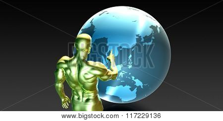 Businessman Pointing at Asia or Asean States Concept