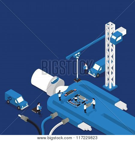 concept of electronics repair in isometric style