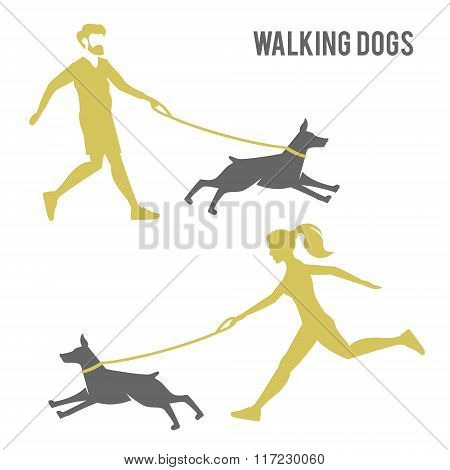The guy and the girl walking a dog.