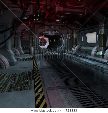 inside a futuristic scifi spaceship
