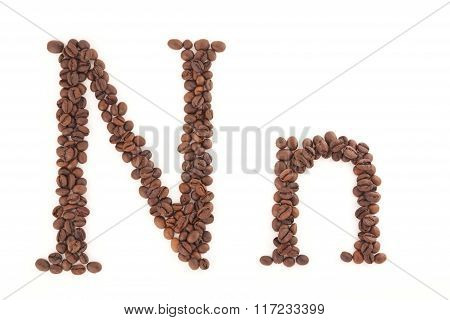 Letter made of coffee