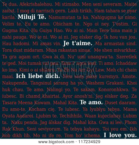 Text - I Love You -  In Different Languages, Some Highlighted