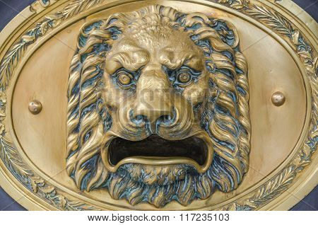 Doorknob in form of lion's head. Close-up