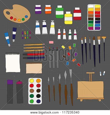 Doodle artist items.