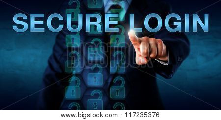 Corporate Client Pressing Secure Login Onscreen.