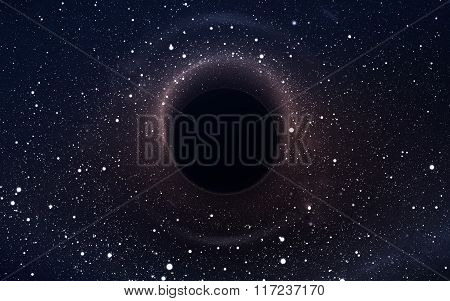 Black hole in deep space, glowing mysterious universe. Elements of this image furnished by NASA