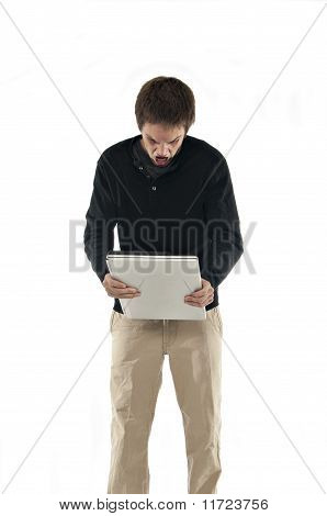 Angry Teenager Holding Laptop