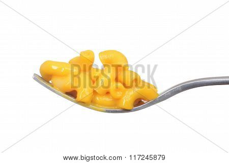 isolated macaroni and cheese on a fork