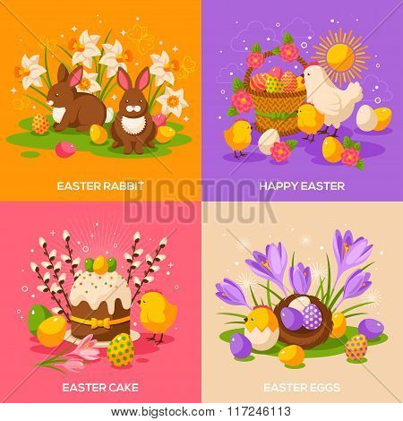 Set of Easter Spring Holiday Concepts