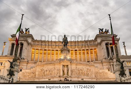 Emmanuel II monument and The Altare della Patria in a Fall night in Rome, Italy poster