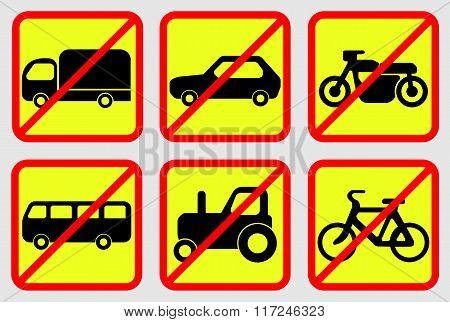 Vehicle Prohibition Icons Vector EPS 10 Format poster