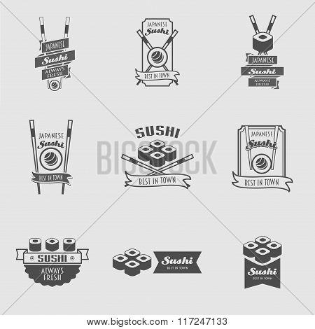Vector Sushi Logotypes Set. 9 Logos With Sushi Rolls And Chopsticks. Sushi Vintage Design Elements,