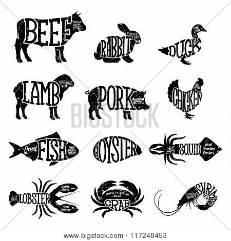 Vector Farm Animals And Seafood Collection. Butcher Shop And Seafood Shop Labels