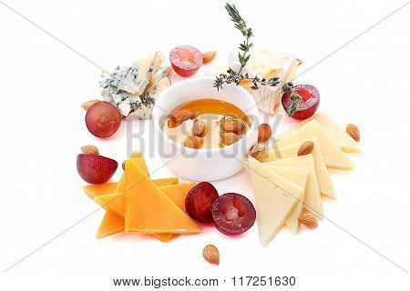 Four Kinds Of Cheese, Grapes, Almond And Honey