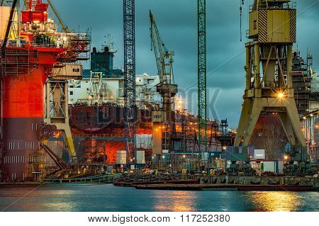 Shipyard At Dusk