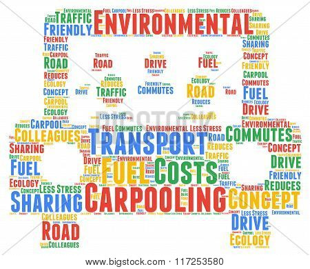 Carpooling word cloud concept