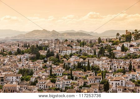 Houses in the city of Granada Andalusia Spain