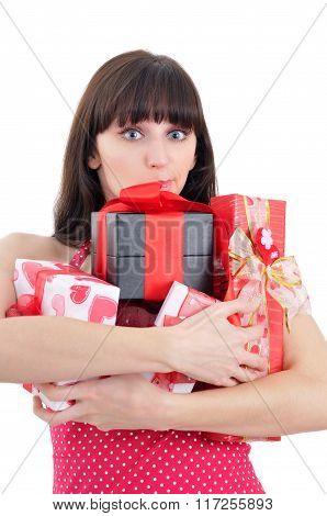 Confused Young Girl With Heaps Of Presents