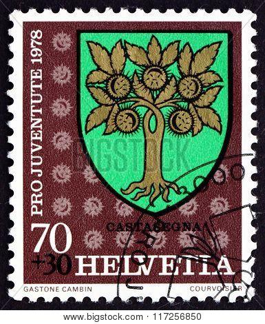 Postage Stamp Switzerland 1978 Castasegna, Communal Arms
