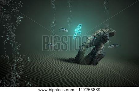 Idol under water