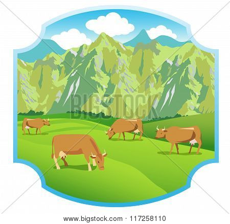 Cows On The Alpine Meadows. Mountains Range And Green Valley. Background For Label, Sticker, Print, Packing, Web. Landscape Vector Background.  Alpine Meadows Sticker. Alpine Meadows Weather.