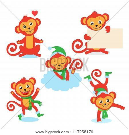 Cute Monkey Character Set. Vector Illustrations Of A In Various Poses. All Isolated On White Background. Cute Monkey Species. Cute Monkey Doll. Cute Monkey Plush. Cute Monkey Compilation.