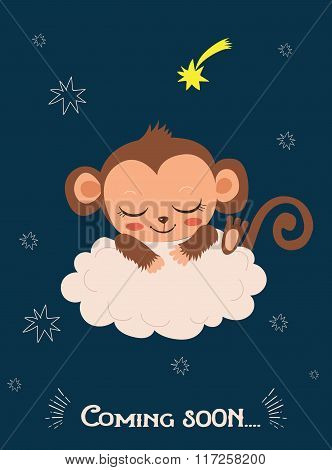 Cute Baby Monkey Sleeping On A Cloud. Cartoon Vector Card. Monkey Sleeping Image. Monkey Sleeping Cartoon. Monkey Sleeping Pattern. Baby Monkey Sleeping. Baby Monkey For Sale. Baby Monkey Doll.