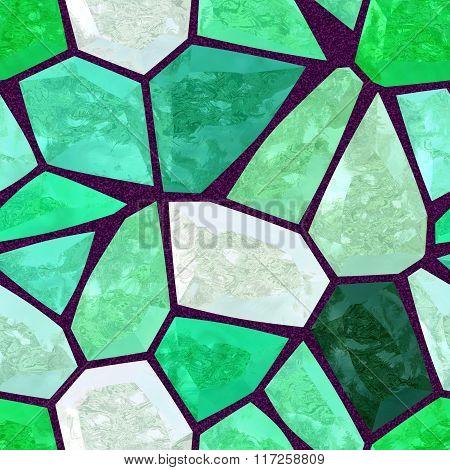 Fresh Green Marble Irregular Plastic Stony Mosaic Seamless Pattern Texture Background