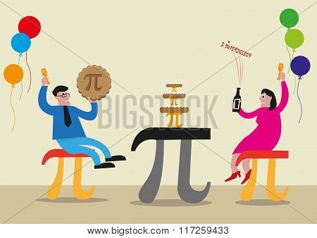 Happy Pi Day concept. People are celebrating with Pi Greek Letter symbol made as chairs, food and ta