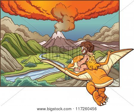 Cartoon caveman riding a pterodactyl towards a volcano. Vector clip art illustration with simple gradients. Background and caveman on separate layers.