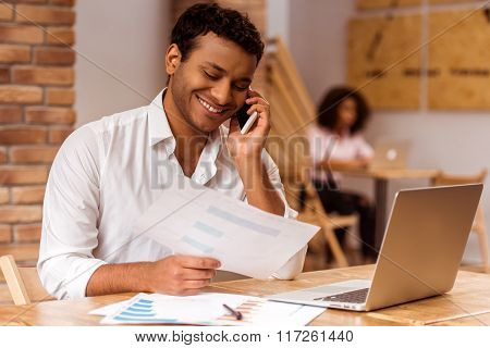 Handsome Afro-american Man Working