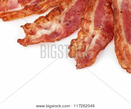Cooked Bacon Rashers Close-up Isolated As A Background.