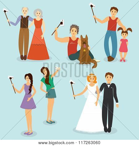 Set of people photographed with older people, the guy with the dog, father and daughter, girlfriend