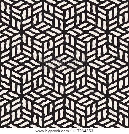 Vector Seamless Black And White Hand Painted Line Geometric Rhombus Pavement Pattern