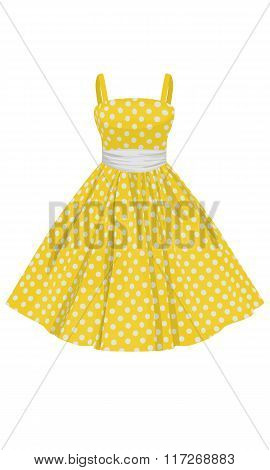 Vector Yellow Dress With White Polka Dots