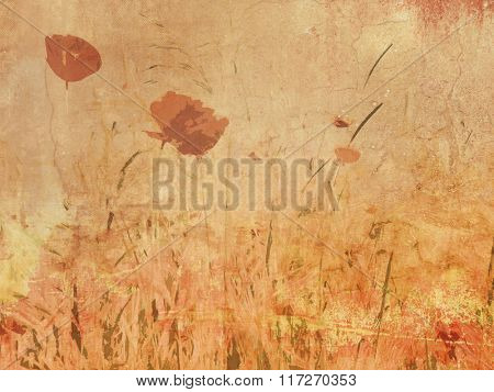 Wildflower meadow - poppy field in vintage drawing style - natural flower background in retro sepia tone poster