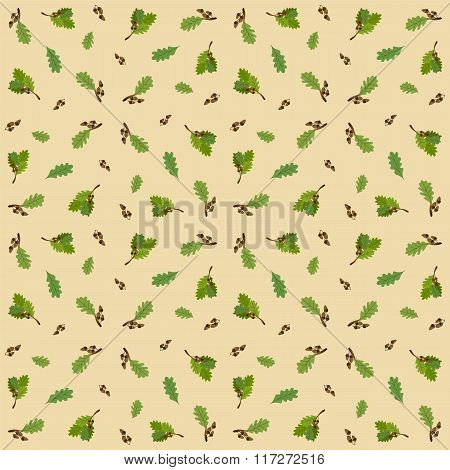 Seamless pattern with acorns and oak leaves