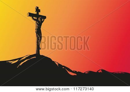 Jesus Christ Crucifiction hand drawn vector llustration sketch