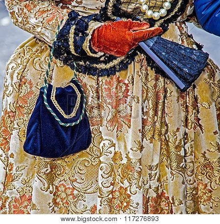 Detail View Of A Epoque Costume At Venetian Carnival