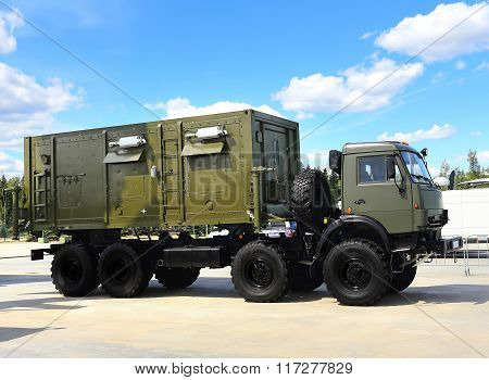 MOSCOW REGION  -   JUNE 17: Military all terrain truck with a metal frame and box body  -  on June 17, 2015 in Moscow region