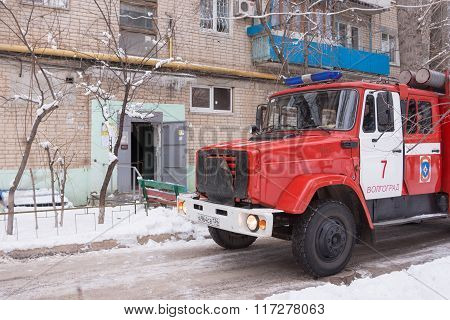 Fire Protection Machine Stands At The Entrance Of A Block Of Flats