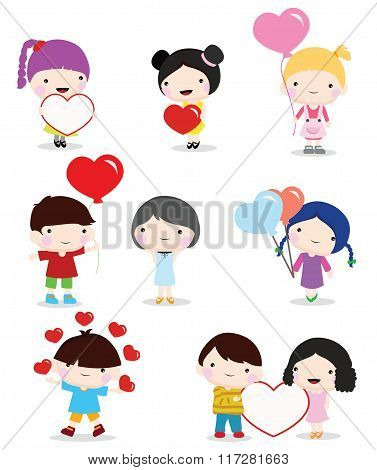 kids with hearts valentine day wedding and romance