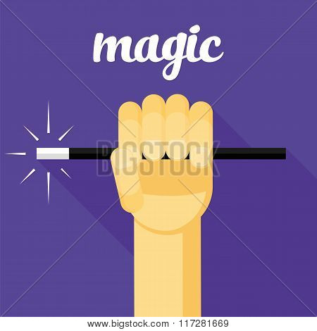 magic vector illustration, magic wand in hand, hand, magic flat design, wizard, sorcerer, mage