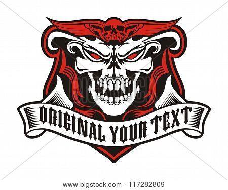 skull angry ribbon
