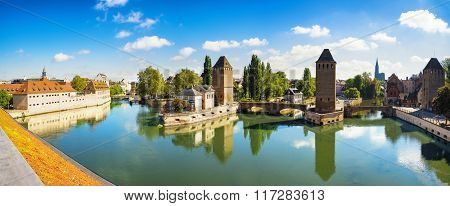 Strasbourg Panorama, Medieval Bridge Ponts Couverts And Cathedral. Alsace, France.