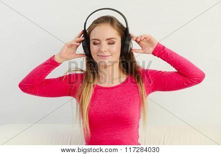 Beauty Happy Woman Listen Music.
