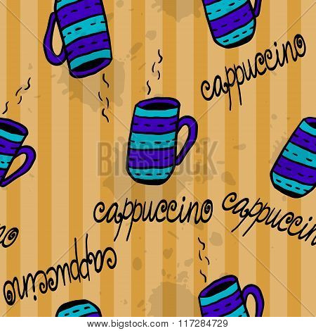Seamless pattern with sketchy  coffee cups