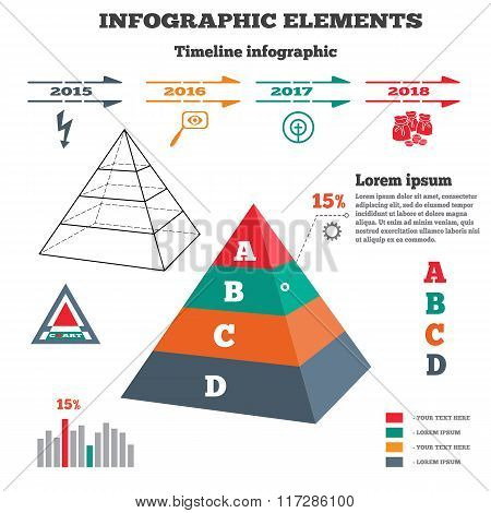 Infographics elements. Pyramid solid chart. 3D perspective pyramid views, timeline with icons. Four